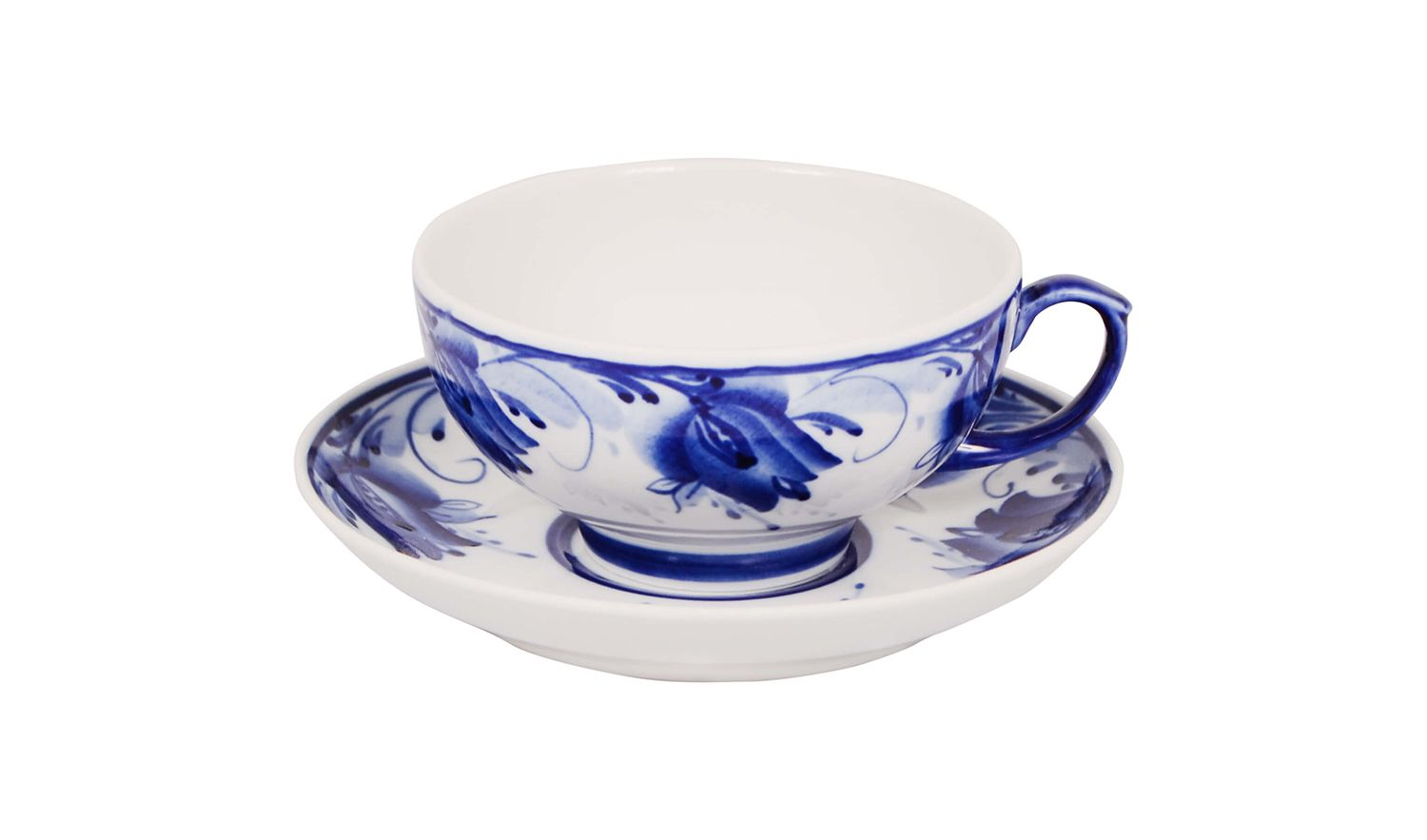 Dulevo porcelain / Tea cup and saucer set, 12 pcs., 220 ml Ruby Blue tulips