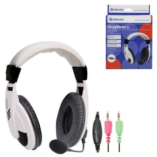 DEFENDER / Headphones with microphone (headset) Gryphon HN-750, wired, 2 m, white