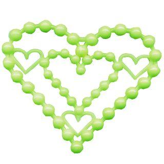 Heart beads, glowing in the dark.