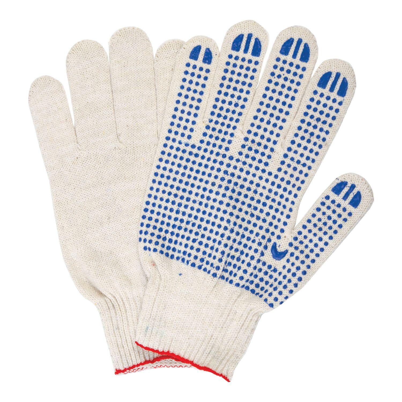 LIMA / Cotton gloves LUX, SET 5 pairs, grade 10, 40-42 g, 116 tex, PVC point, WHITE