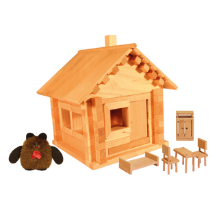Designer Hut house with doll and furniture, 95 elements, Pelsi