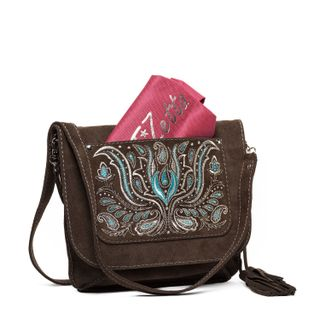 Suede bag Irida brown color with silver embroidery