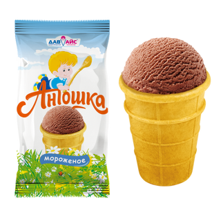 ICE CREAM ANTOSHKA Chocolate with natural cocoa powder waffle glass.