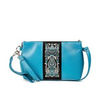 Leather bag 'good mood' blue with silver embroidery