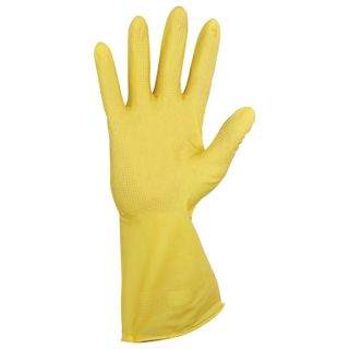 YORK / Household rubber gloves, super-dense, with cotton dusting, corrugated palm, size M (medium)