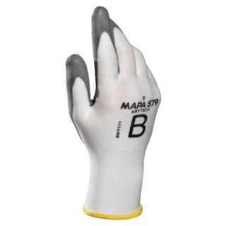 MAPA / KryTech 579 textile gloves, polyurethane coating (doused), size 9 (L), white