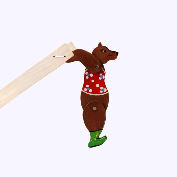 Bogorodskaya toy / Wooden souvenir 'Acrobat bear', painted