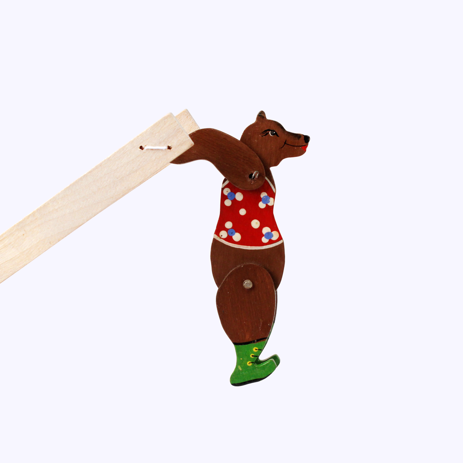 "Bogorodskaya toy / Wooden souvenir ""Acrobat bear"", painted"