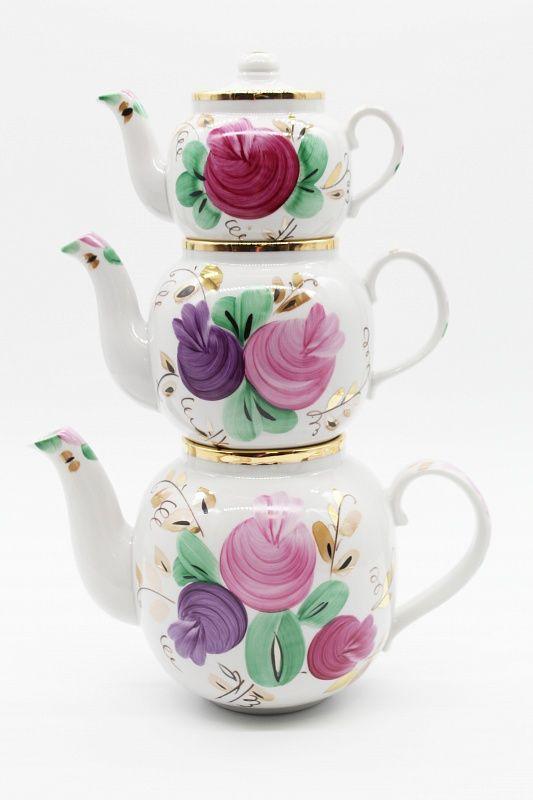 Dulevo porcelain / Set of teapots 3 pcs. Amber Agashka
