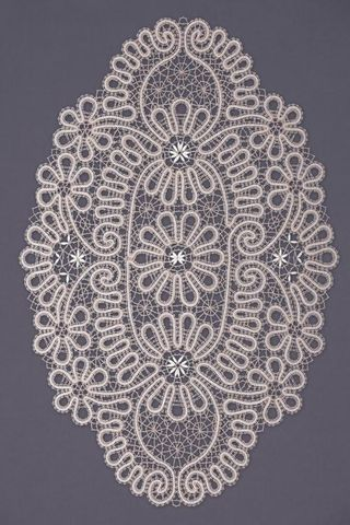 Doily lace oval with floral pattern