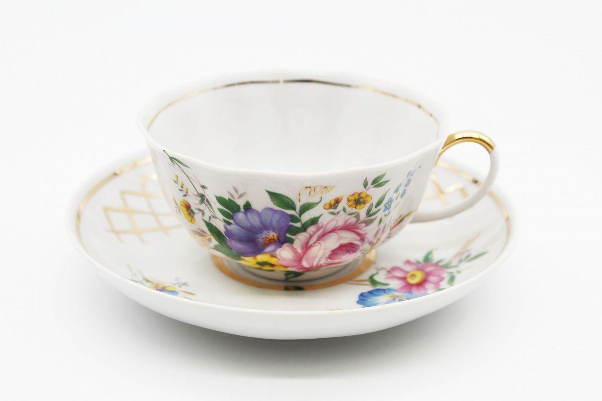 Dulevo porcelain / Set of tea cup with saucer, 12 pcs., 220 ml Tulip Saxon bouquet