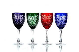 "Set of crystal glasses for wine ""Pharaoh"" colored 4 pieces"