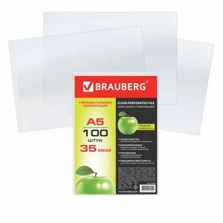 Folder files SMALL FORMAT (148x210 mm), A5 HORIZONTAL, SET of 100 PCs., 35 microns, BRAUBERG