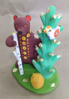 Dymkovo clay toy Bear in the woods