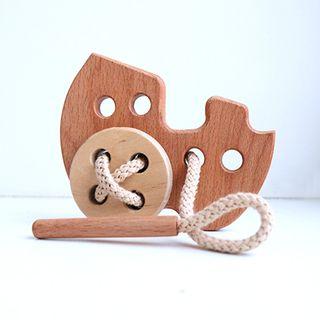 """Lanyard """"Steam Engine"""" - developing children's wooden toy"""