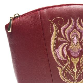 Leather cosmetic bag iris Burgundy with gold embroidery