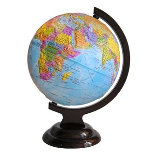 Political globe with a diameter of 210 mm raised on a wooden stand