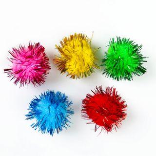 POM-poms for creativity, shiny, 5 colors, 15 mm, 50 PCs., TREASURE ISLAND