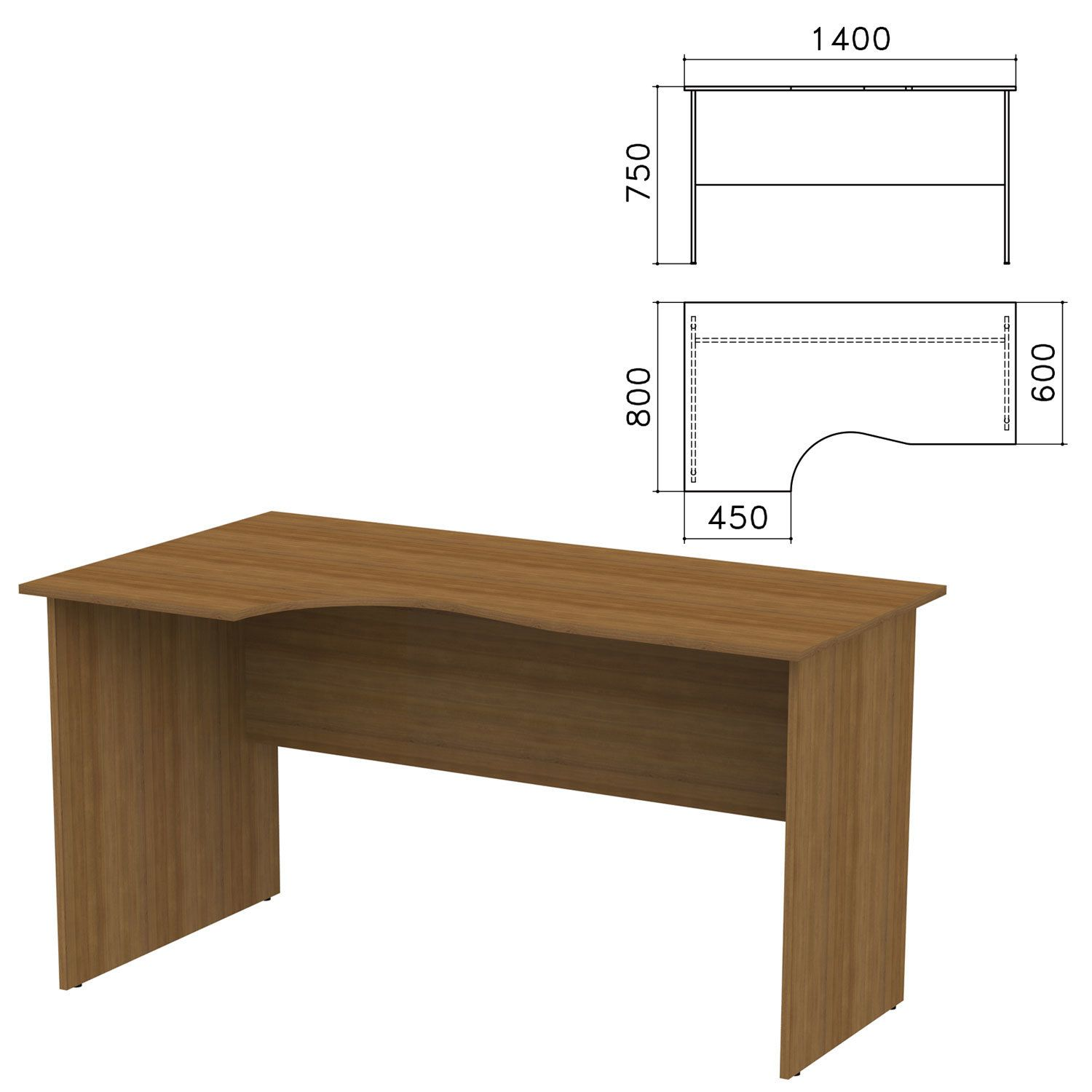 "Table written ergonomic ""Kanz,"" 1400 x800s750 mm, left, walnut pyramidal color"