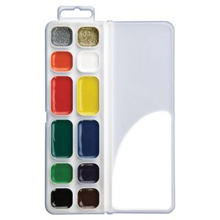 Watercolors Prestige 12 colors (10 colors + 1 gold + 1 silver), honey, without a brush, plastic box