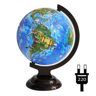 Children's globe with a diameter of 210 mm on a wooden stand with backlight