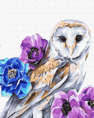 """Paint by number """"Barn owl in flowers"""" 40x50 cm"""