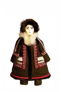 Winter women's costume of the 20th century. Khanty-Mansi Okrug. The People Of Muncie. Doll gift
