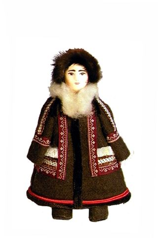 Winter women's costume of the 20th century. Khanty-Mansi Okrug. The People Of Muncie. Doll gift