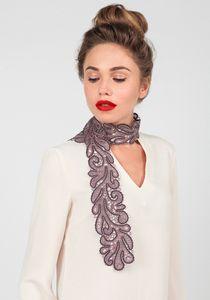 Silk scarf 'Lace prairies' burgundy, Madame Cruje
