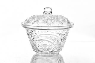 """Crystal vase for a table with a cover """"Enchantress"""" colorless"""