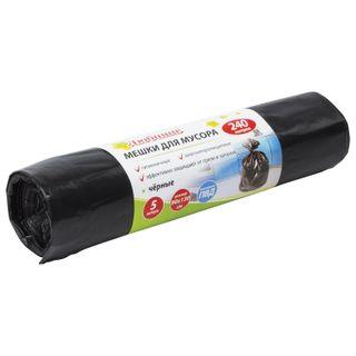 LYUBASHA / Garbage bags 240 l, black, 5 pcs per roll, LDPE, 30 μm, 90x130 cm (± 5%), economy