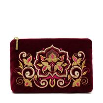 Velvet zip pouch handmade 'Stone flower', Torzhokskiy seamstresses, Burgundy