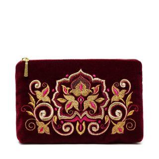 """Velvet zip pouch handmade """"Stone flower"""", Torzhokskiy seamstresses, Burgundy"""