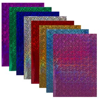 Coloured paper, A4, HOLOGRAPHIC self-ADHESIVE, 8 sheets in 8 colors, the
