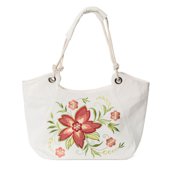Linen bag 'Summer' white with silk embroidery