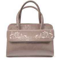 Bag made of eco-leather 'Louise' in beige with silver embroidery
