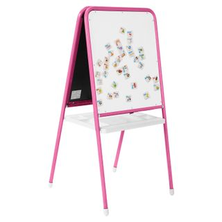 Board easel double-sided chalk and magnetic marker (48х53 cm) pink/white, DEMI
