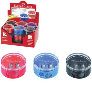 Sharpener FABER-CASTELL, 2 hole, with container, round, plastic, red/blue