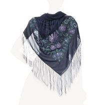 Scarf 'Inspiration' blue with silk embroidery