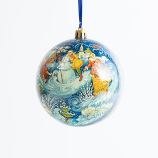 Palekh / Christmas ball with Palekh hand-painted, 8 * 8 cm, master Rybakin