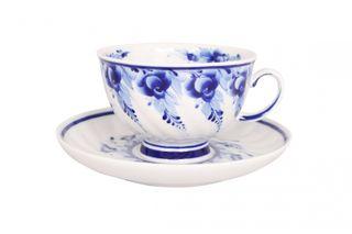 Dulevo porcelain / Tea cup and saucer set, 12 pcs., 350 ml Blue rose