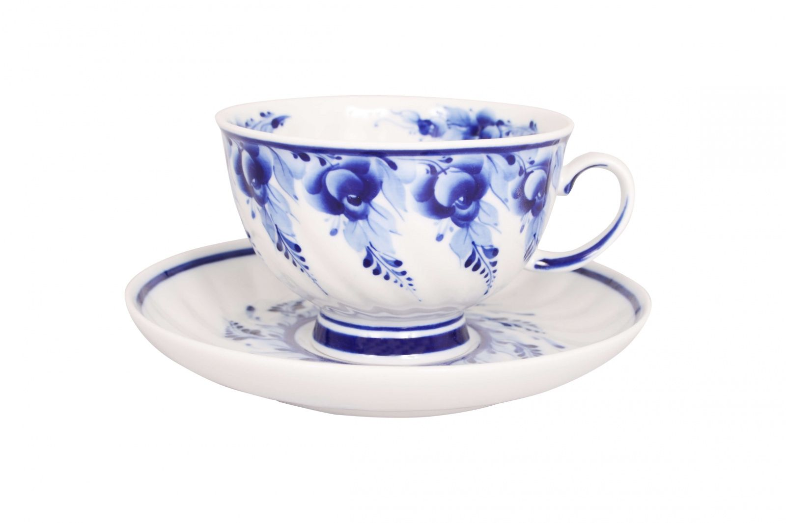 Dulevo porcelain / Tea cup and saucer set, 12 pcs., 350 ml Blue rose