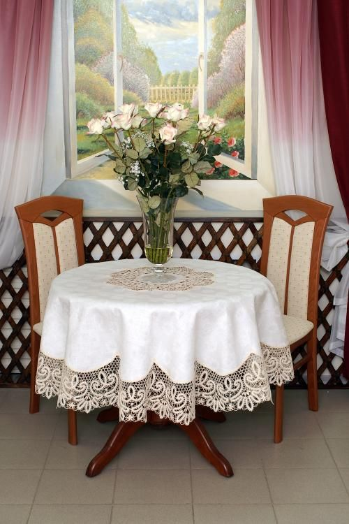 Round table cloth jacquard lace criss-crossing