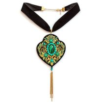 Pendant 'malachite tale' black with gold embroidery