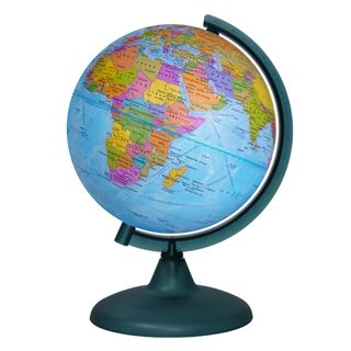 Political globe with a diameter of 210 mm on a plastic arc and stand
