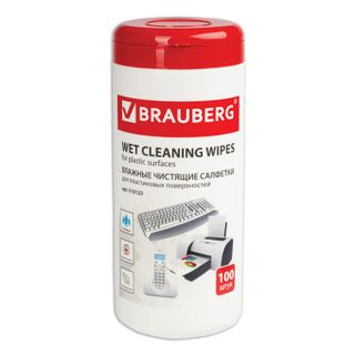 BRAUBERG / Napkins for plastic surfaces 13x17 cm, tube 100 pcs., Wet