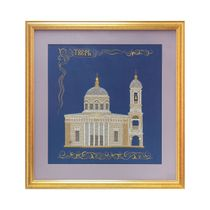 Panel 'ascension Cathedral' green with gold embroidery