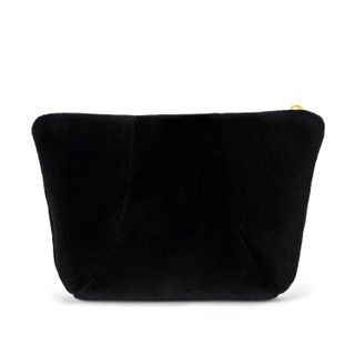 Velvet cosmetic bag Aida black with gold embroidery