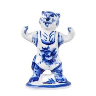 The sculpture of the Tiger-fighter class 2, Gzhel Porcelain factory