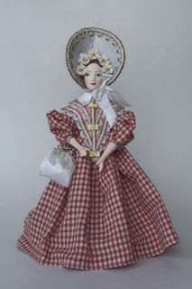 Doll gift porcelain. The young lady in the summer social dress.1840s, Russia